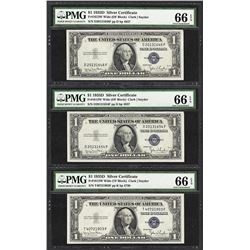 Lot of (3) 1935D $1 Silver Certificate Notes Fr.1613W PMG Gem Uncirculated 66EPQ