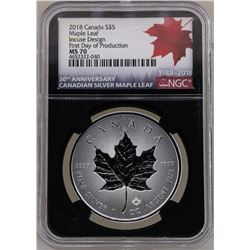 2018 $5 Canada Maple Leaf Silver Coin NGC MS70