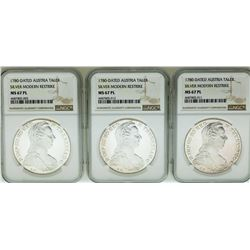 Lot of (3) 1780 Austria Taler Restrike Silver Coins NGC MS67PL