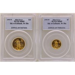 Lot of Rare 1999-W $5 & $10 American Gold Eagle Coins Mint ERROR PCGS MS69 Stk w