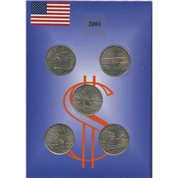 USA; 2001 25¢ state quarter collection in a cardboard all uncirculated or better.