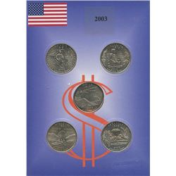 USA; 2003 25¢ state quarter collection in a cardboard all uncirculated or better.