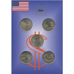 USA; 2004 25¢ state quarter collection in a cardboard all uncirculated or better.