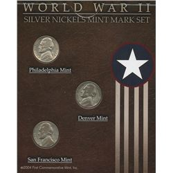 USA; 1944S 5¢, 1945D & 1945P WWII silver nickel set from the First Commemorative Mint, all in averag