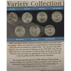 USA; 1981D to 2006 5¢ nickel variety collection set from the First Commemorative Mint, all in averag