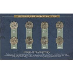 USA; 1945 silver 5¢, 1946, 2004 to 2006 transitional Jefferson nickel collection all in average cond