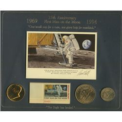 USA; 1961 50¢, 1971 $1 & 1979 $1 25th anniversary of the first man on the moon set with stamp all in