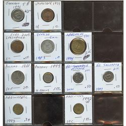 Lot of World coins; Argentina, El Salvador, Jamaica, Luxembourg, Poland & Tunisia lot of 11 coins al