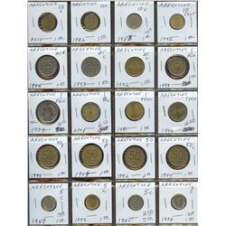 Lot of World coins; Argentina lot of 20 coins all in average condition.