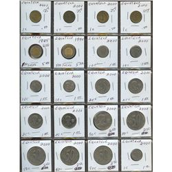 Lot of World coins; Ecuador lot of 20 coins all in high average condition.