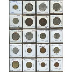 Lot of World coins; France 1800's to 2000's lot of 20 coins all in average condition.