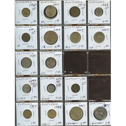 Lot of World coins; Guatemala lot of 17 coins all in average condition.