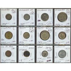 Lot of World coins; Haiti, Honduras, Isle of Man, Indonesia, Iran & Italy lot of 12 coins all in ave