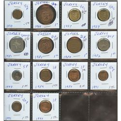 Lot of World coins; Jersey lot of 14 coins all in average condition.