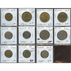 Lot of World coins; Kenya lot of 11 coins all in average condition.