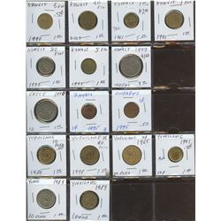 Lot of World coins; Koweit, Greece, Yugoslavia, Zambia & Zimbabwe lot of 16 coins all in average con