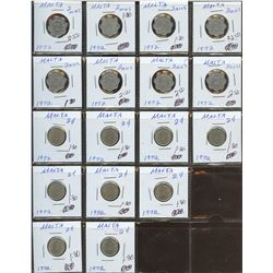 Lot of World coins; Malta lot of 17 coins all in average condition.