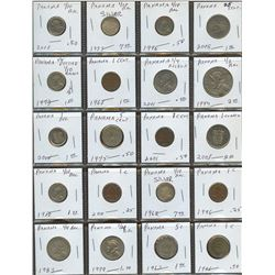 Lot of World coins; Panama lot of 20 coins with some silver coins all in average condition.