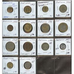 Lot of World coins; Portugal lot of 14 coins all in average conidition.