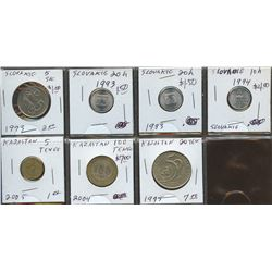 Lot of World coins; Slovakia & Kazakhstan lot of 7 coins all in average condition.