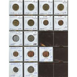 Lot of World coins; Slovakia & Guernsey lot of 16 coins all in average condition.