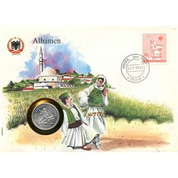 Albanien 1991 first day cover with coin, uncirculated or better for grade.