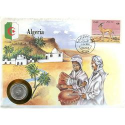 Algeria 1993 first day cover with coin, uncirculated or better for grade.