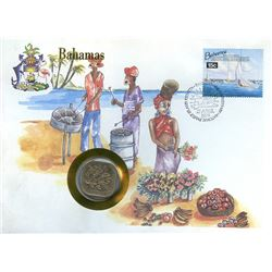 Bahamas 1994 first day cover with coin, uncirculated or better for grade.