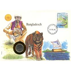 Bangladesch 1992 first day cover with coin, uncirculated or better for grade.