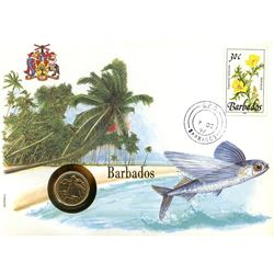Barbados 1992 first day cover with coin, uncirculated or better for grade.