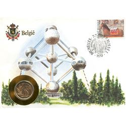 Belgium 1990 first day cover with coin, uncirculated or better for grade.