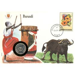 Burundi 1990 first day cover with coin, uncirculated or better for grade.