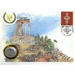 Cyprus 1993 first day cover with coin, uncirculated or better for grade.