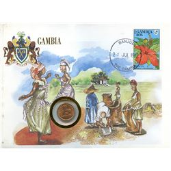 Gambia 1992 first day cover with coin, uncirculated or better for grade.