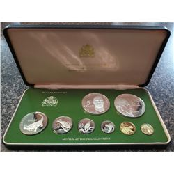 Guyana 1¢ to $10 1978 silver proof Year set from the Franklin Mint, sealed and housed, with the COA.