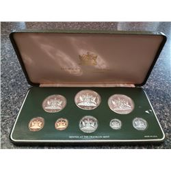 Trinidad & Tobago 1¢ to $10 1978 silver proof Year set from the Franklin Mint, sealed and housed, wi
