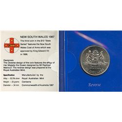 Australia 1987 $10 New South Wales coat of arms commemorative coin sterling silver issue, housed and