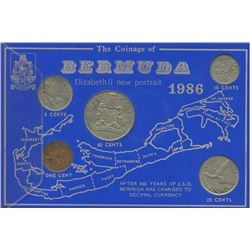 Bermuda 1986 1¢ to 50¢ Year set in a cardboard all in average condition.