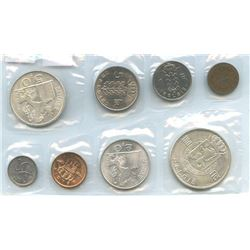 Belgium 1953-1964 20¢ to Fr100 sealed PL set, all uncirculated or better.