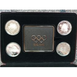 Australia, Austria, Canada, France & Greece 1996 silver proof set for the 100th olympic housed and s