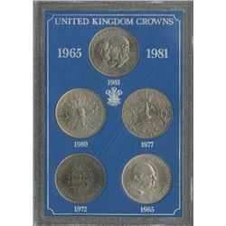Great Britain 1965, 1972, 1977, 1980 & 1981 lot of 5 crowns, all uncirculated or better.