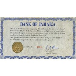Jamaica 1976 $1 to $10 notes #*004956 set number 4956/5000 housed in original binder, all uncirculat