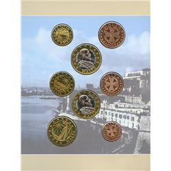 Malta 2004 1¢ to €2 pattern coin set housed and sealed in original cardboard.