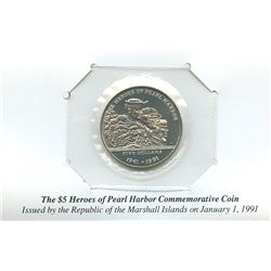 Marshall Islands 1991 $5 heroes of Pearl Harbor commemorative coin housed and sealed in the original