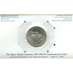 Marshall Islands 1991 $5 space shuttle Columbia commemorative coin housed and sealed in the original