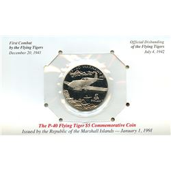 Marshall Islands 1991 $5 P-40 flying tiger commemorative coin housed and sealed in the original card