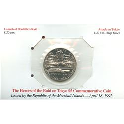 Marshall Islands 1992 $5 Heroes of the raid on Tokyo commemorative coin housed and sealed in the ori