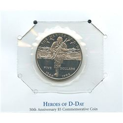 Marshall Islands 1994 $5 Heroes of D-Day commemorative coin housed and sealed in the original cardbo