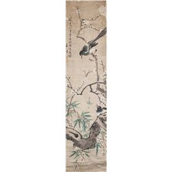 Chinese Watercolor Birds and Plum Blossom Signed