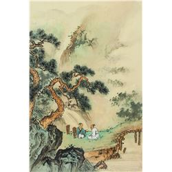 Chinese Watercolor on Silk Mountainous Landscape